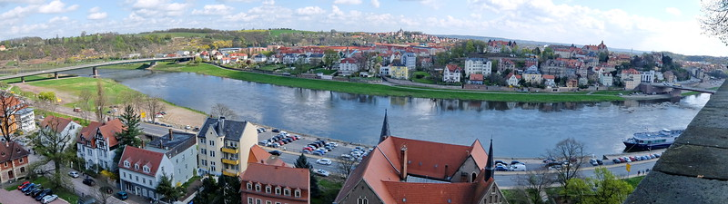 "Elbe river in Meissen.  ""River Allegro"" ship on lower right."