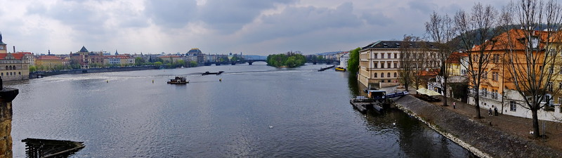 View of Vltava River from the Charles Bridge
