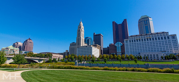 Looking across the river from the COSI lawn at downtown Columbus