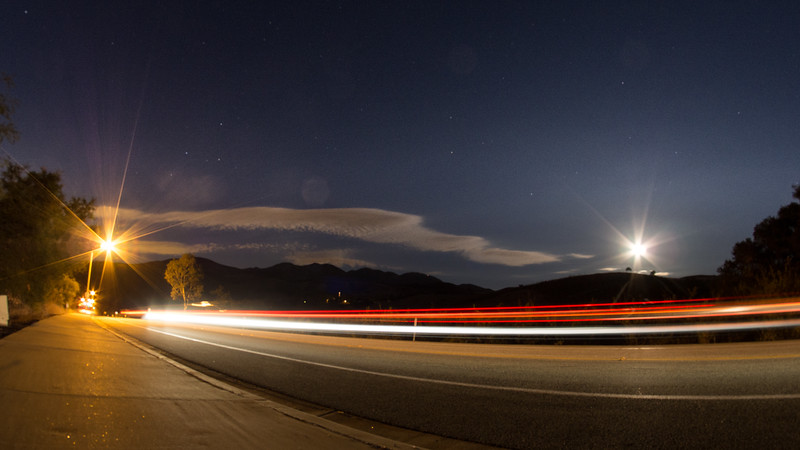 Street light on the left, blue moon on the right.  One of my favorite shots of the night.