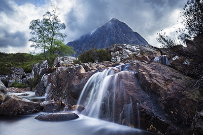 Waterfall on River Coupal Overlooking Buchaille Etive Mor