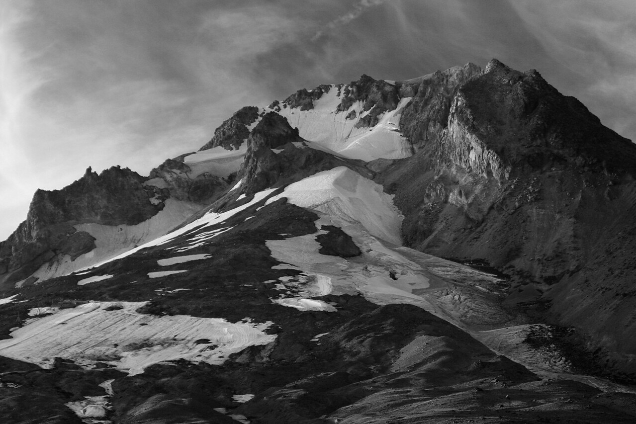 Mt. Hood S. face B&W