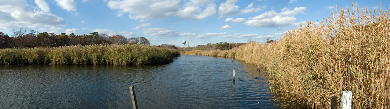View of Tuthills Creek in Patchogue as viewed from the Underwood property on River Ave on a crisp Autumn afternoon