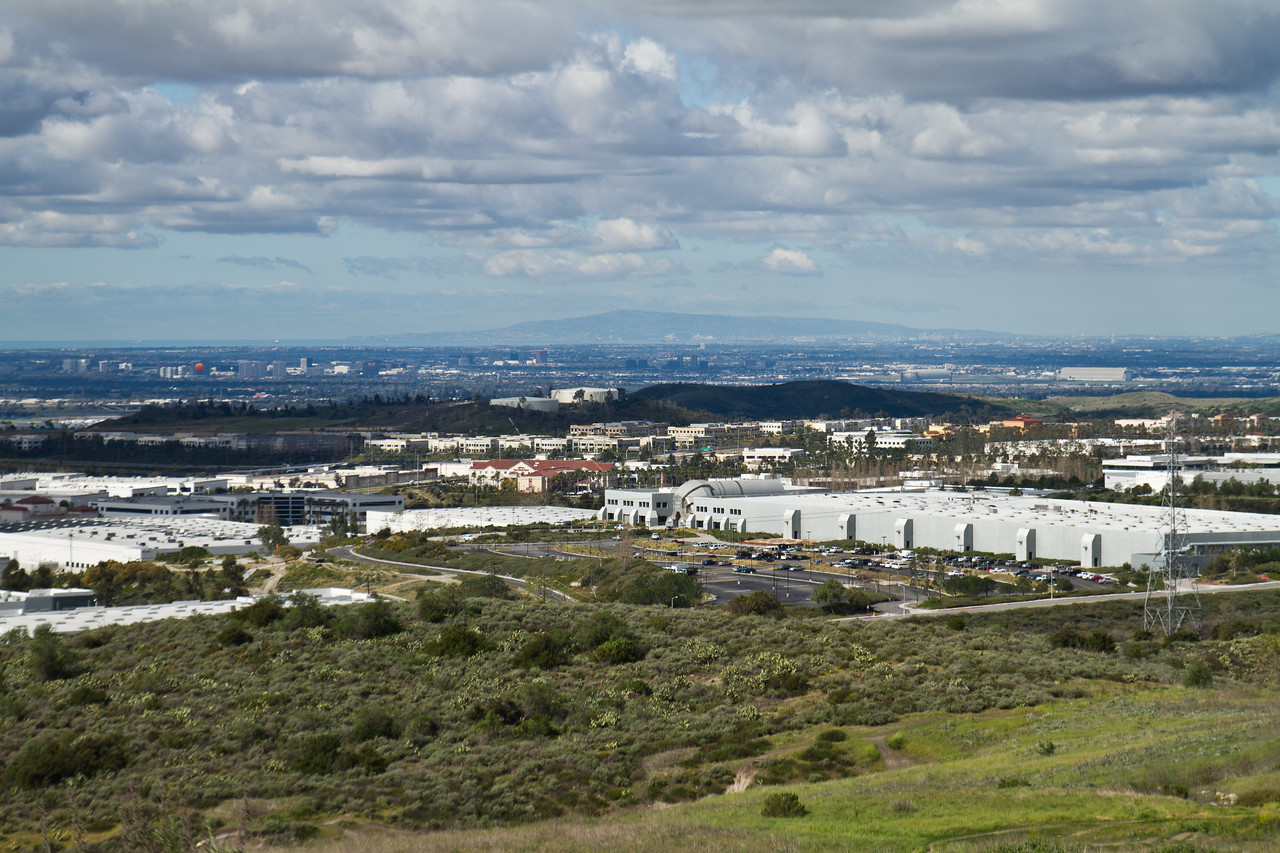 Rancho Palos Verdes in the distance behind the Oakley factory.  Catalina Island is way off to the left.