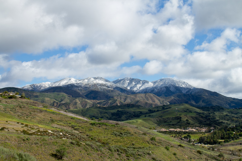 Santiago and Modjeska peaks of Saddleback Mountain with a fresh dusting of snow.