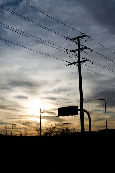 Telephone pole at sunset, Foothill Ranch