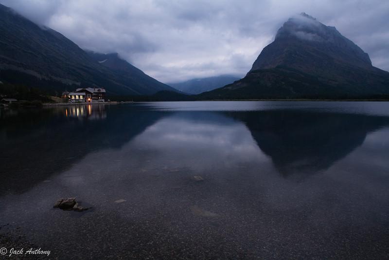 Many Glacier Lodge on Swift Currnet Lake, Glacier National Park