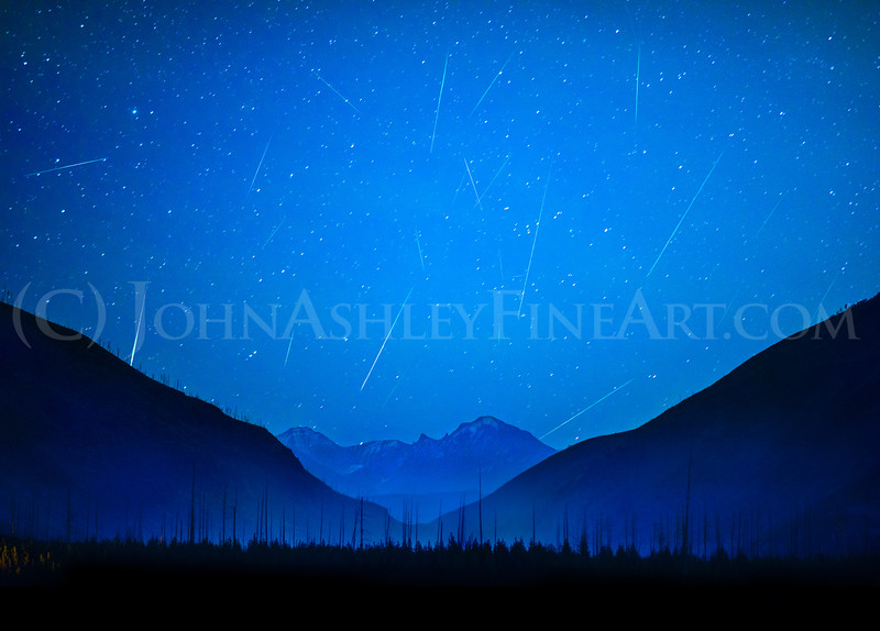 """Orionid Meteors Over Glacier Park"