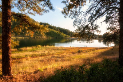 The golden moment just before sunset on Lake Simpatico in Forest Lakes, Colorado