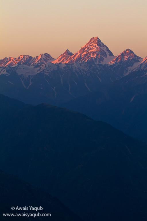 View of Gunji peak during the sunset from Paya meadows 3200 meters
