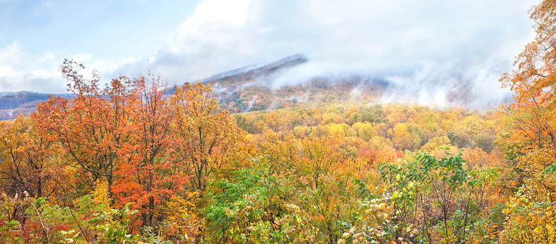 Clouds, mountains and fall color, Great Smoky Mountains
