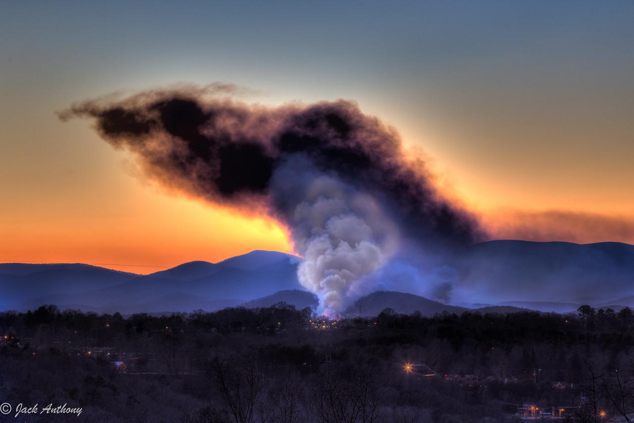 Controlled burn on Campbell Mountain, Lumpkin County, GA
