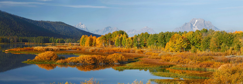 Panoramic fall scene at the Grand Tetons, Wyoming