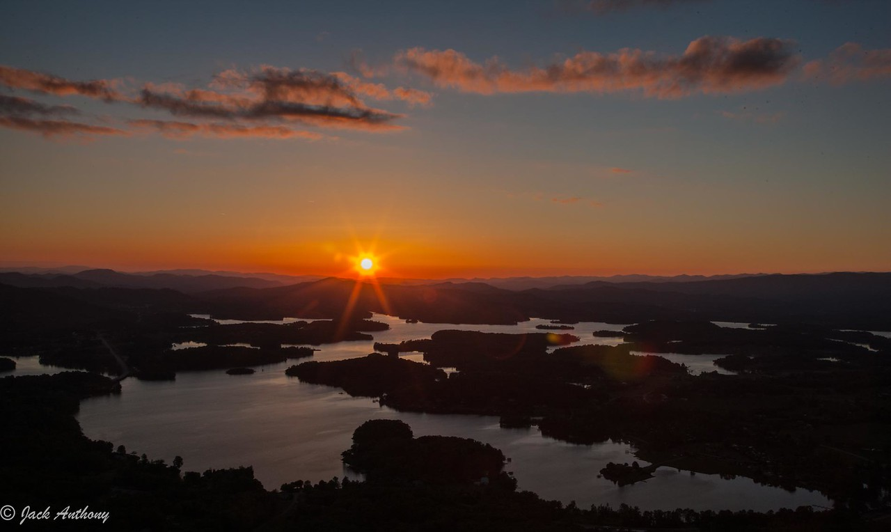 Sunset at Lake Chatuge made from Bell Mountain near Hiawassee, Ga.