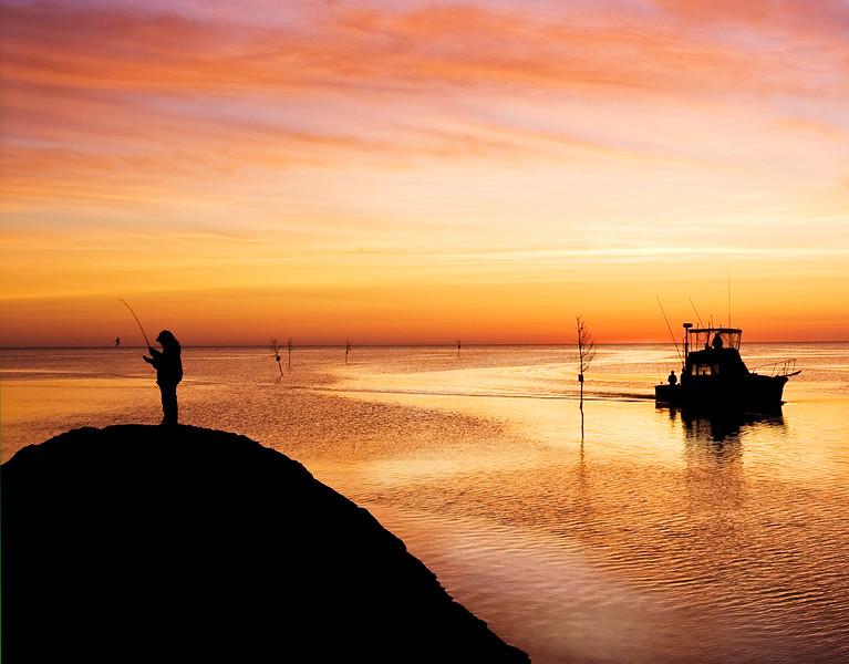 Sunset, Fishing.