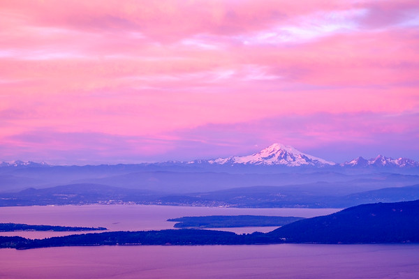 Mt. Baker at sunset from Mt. Constitution, Orcas Island