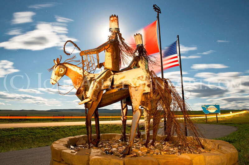 """Blackfeet Sentries"" sculpture by Blackfeet artist Jay Polite Laber"