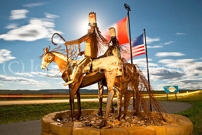 """Blackfeet Reservation Sentries"" sculpture by Blackfeet artist Jay Polite Laber"