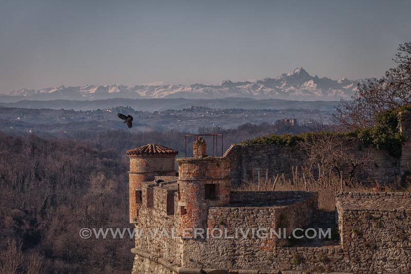 Monferrato - Castle of Gavi (the Monviso mountain in the background)