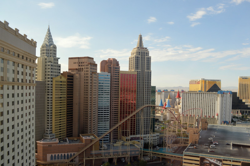 Looking at New York New York from Monte Carlo in Las Vegas Nevada