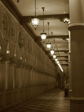 One of the many beautiful hallways of the Venetian.