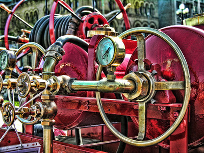 fire truck; Topaz Adjust