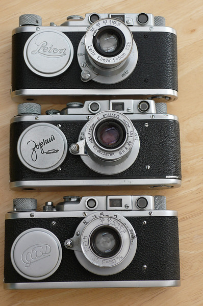 A Leica II, Zorki 1 and a FED 1