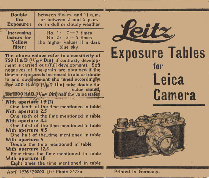 Leitz Exposure Tables from 1936 (Part 1)