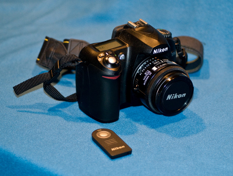 Nikon D50 with F1.8 50mm normal lens.  IR remote also shown.  Circa 2005.