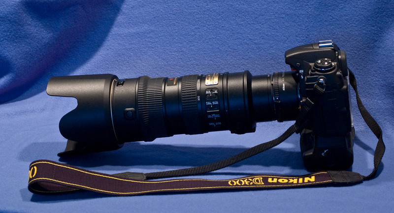 Nikon D300 with F2.8 70-200mm VR lens and Nikon 1.7X teleconverter.  Battery holder also fitted.  Circa 2007.