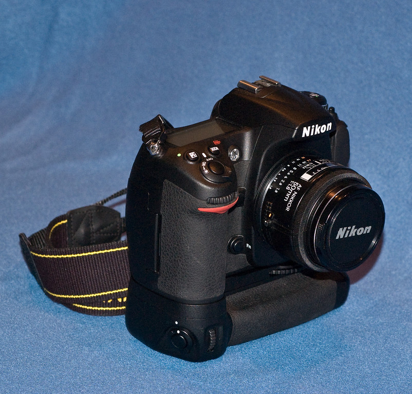 Nikon D300 with normal lens and battery holder fitted.