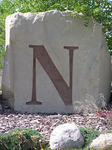 N, (etched stone)