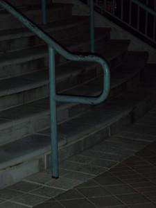 P, (Metal handrail)