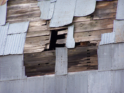 E, roof of grain elevator, Grainville, ID. 11.08