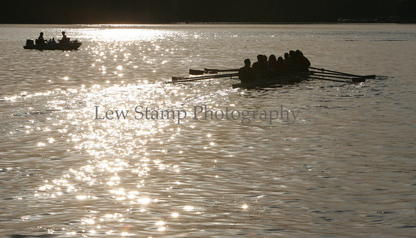 Some of the members of the Portage Lakes Rowing Association take the 8 person boat out for a practice run on Turkeyfoot Lake  in the late afternoon on Tuesday, May 6, 2008, in Akron, Ohio.(Lew Stamp/Akron Beacon Journal) Not for sale