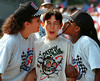 AKron, OH - University of Akron Campus - All American Soap Box Derby - (l tor ) Jodie Murphy, greets  derby champ, Victor Arden, of Michigan, along with Kami Parson and gives the traditional derby double welcoming kiss. ( Lew Stamp 8-5-96)