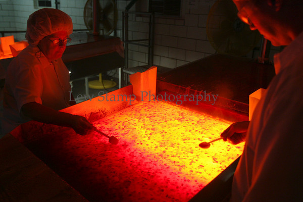Virginia Lowry (left) Bob Thrower and inspect  for defective fruit on production line at Smuckers Co. Friday, July 13, 2007, in Orrville, Ohio.  (Lew Stamp/Akron Beacon Journal)