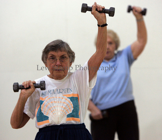 Armela Hammes of Hudson, is a member of the Golden Shapers class at LifeCenter Plus Health and Fitness Center which uses weights in a strength class to help prevent bone and muscle loss on Friday, Aug. 31, 2007, in Hudson, Ohio. (Lew Stamp/Akron Beacon Journal)