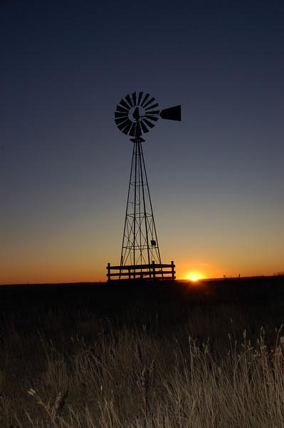 North Dakota Windmill at Sunset