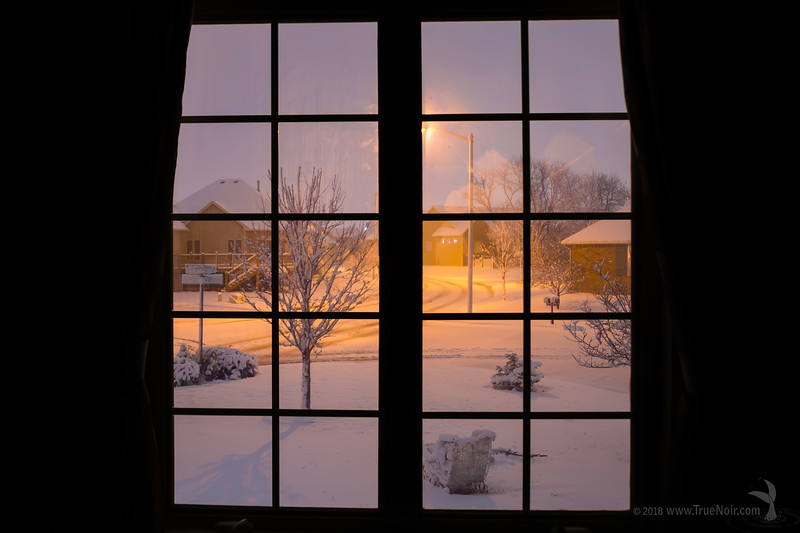 Snowstorm out of the window, winter photography