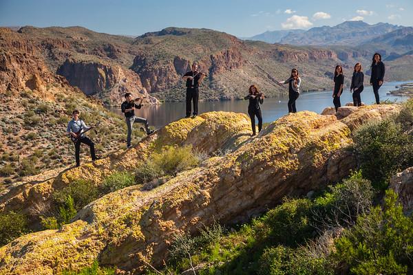 Dutton Family Music against the calm Canyon Lake, Mesa, AZ
