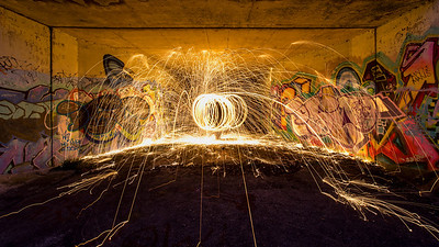 At the far end of the Underpass with backs against the vertical wall looking into the tunnel - and an attempt to make an orb of fire, albeit without knowing quite how to do it. We do now!