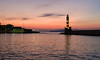 Beautiful sunset in the port of Chania, Crete