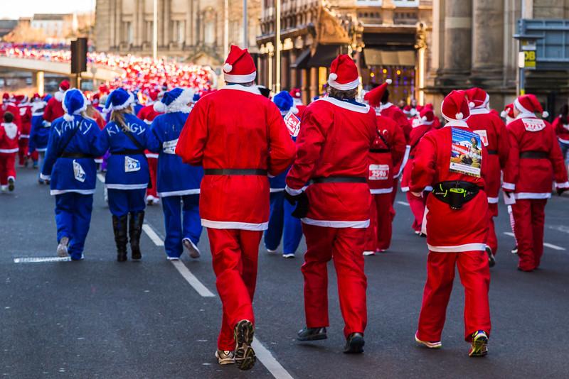 Santas climb up Churchill Way