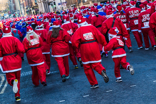 Red & blue Santas fill the frame