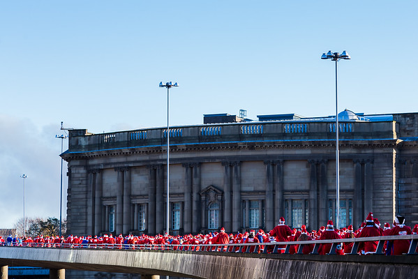 Santas over the flyover