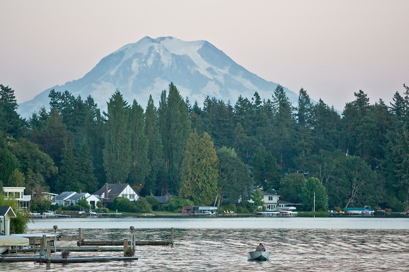 Mt. Rainier <br /> The sun has already gone down behind and to the right. Local residents come out in boats at this time, probably because the fishing is good