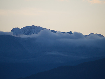 Clouds, snow - Olympic Mountains from Port Townsend