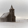 Snow and blowing snow, Dooley Montana, ghost town