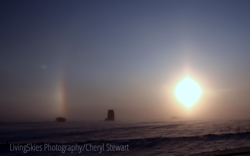 Sun dogs on a very cold morning